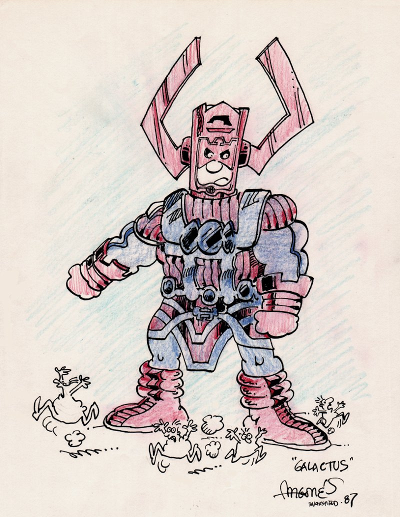 'GALACTUS' Hand Colored Pinup (1987)