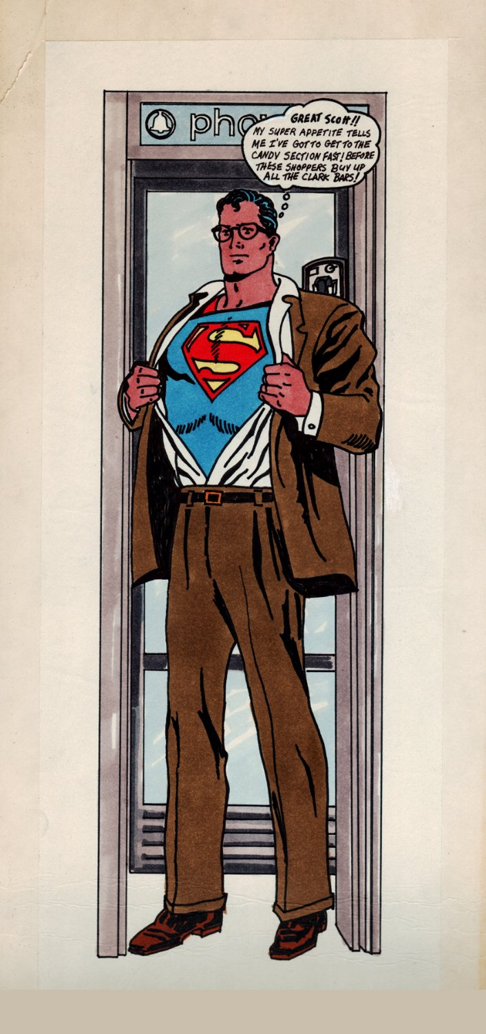 Superman CLARK BAR ADVERTISING ART (SOLD LIVE ON 'DUELING DEALERS OF COMIC ART' EPISODE #31 PODCAST ON 8-14-2021(RE-WATCH THIS FUNNY ART SELLING SHOW HERE)