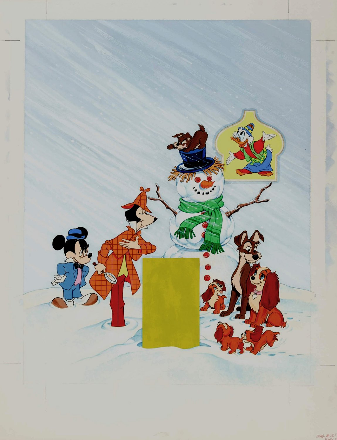 Disney Magazine Cover Painting (Mickey, Scrooge McDuck, Lady and the Tramp) 1976