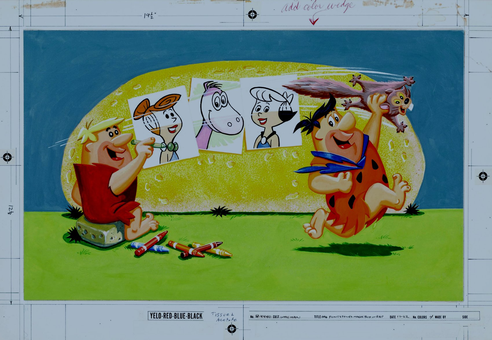 Flintstones Magic Rub-Off Pictures Box Cover Painting (Large Art - 1962)