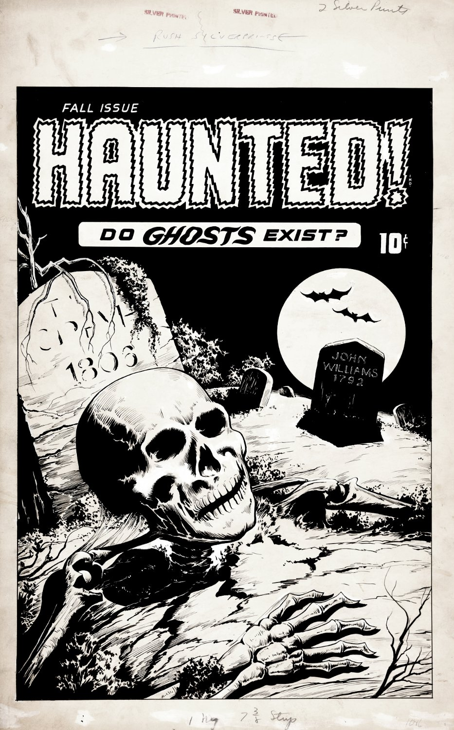 HAUNTED! Large Art Cover (HAND DRAWN DETAILED LOGO & STORY TITLE!) 1950s