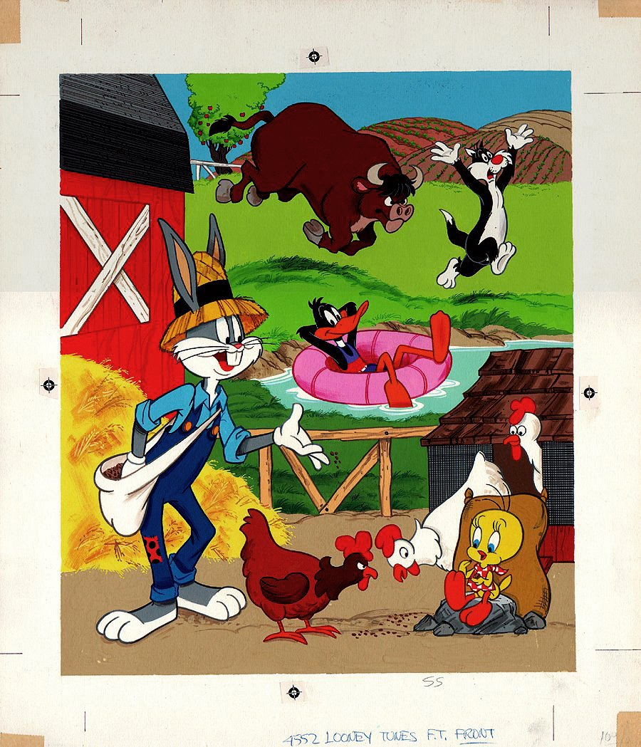 Looney Tunes Puzzle Cover Painting (Bugs Bunny, Daffy, Sylvester, Tweety!) 1970s