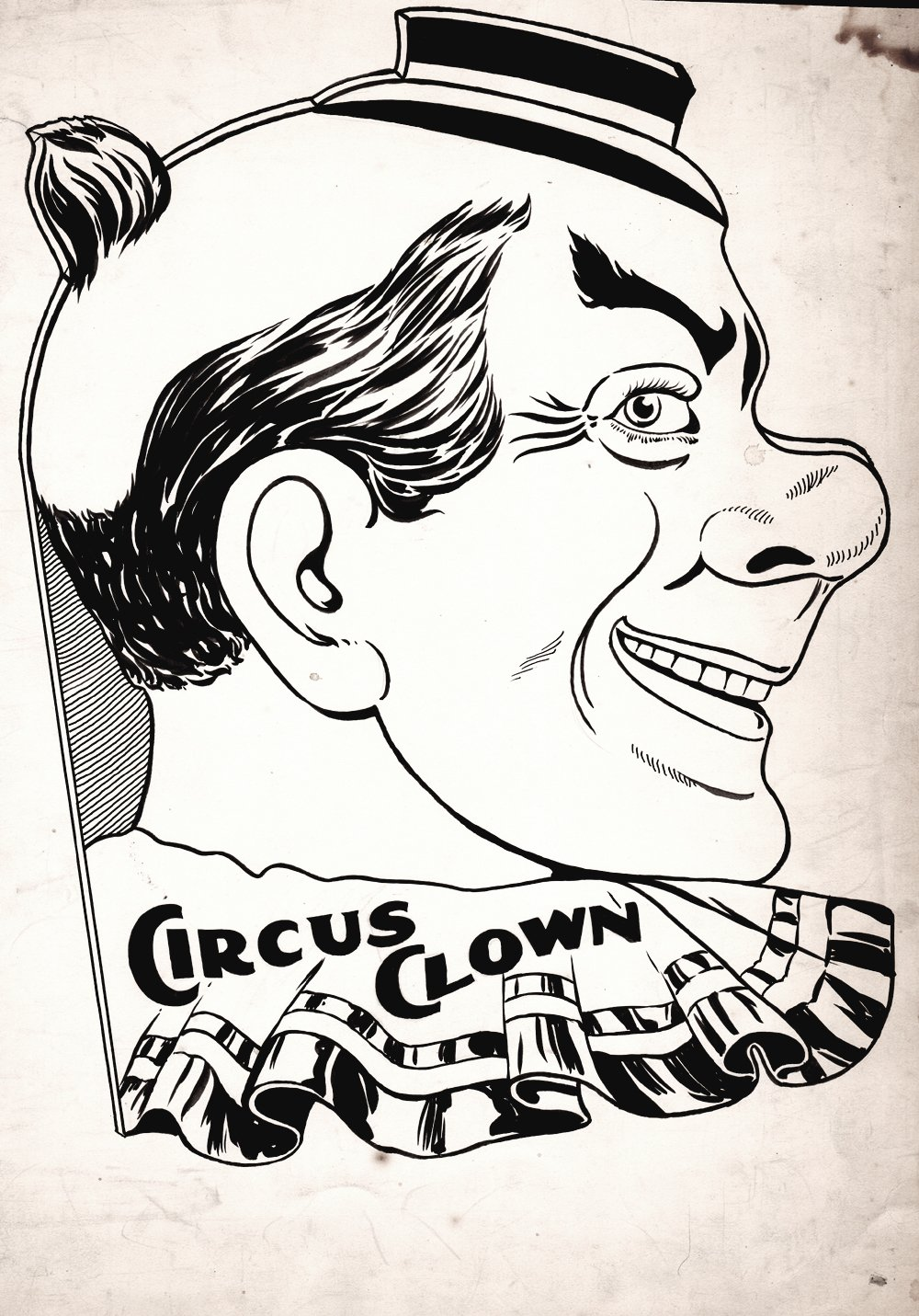 Circus Clown Fully Inked Pinup (Early 1900's)