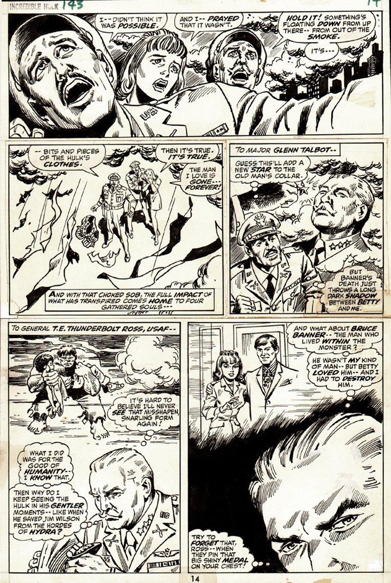Incredible Hulk #143 p 14 (INCREDIBLE HULK #132 COVER SCENE!) 1971