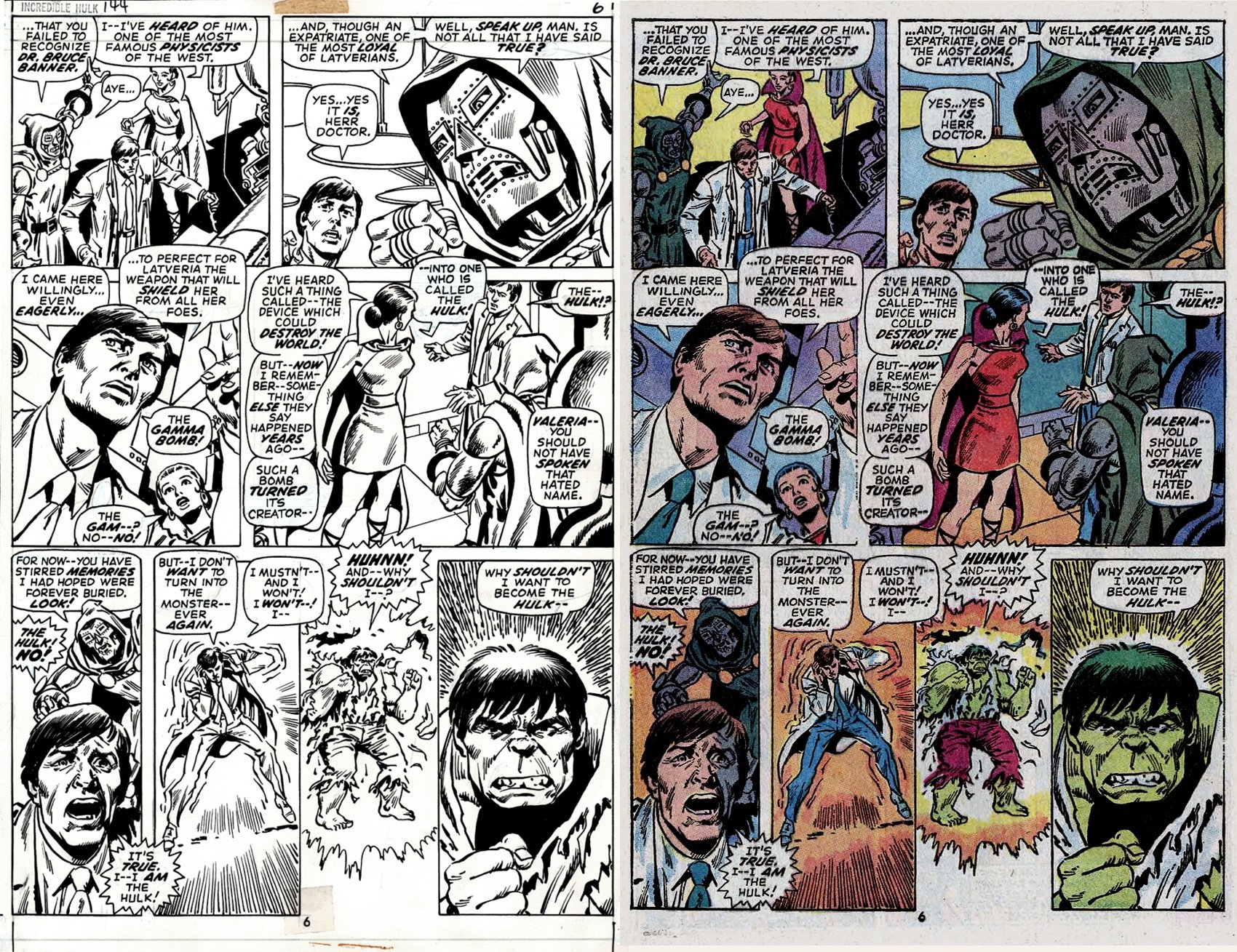 Incredible Hulk #144 p 6 (SOLD LIVE ON 'DUELING DEALERS OF COMIC ART' EPISODE #21 PODCAST ON 6-9-2021 (RE-WATCH THIS FUNNY ART SELLING SHOW HERE)
