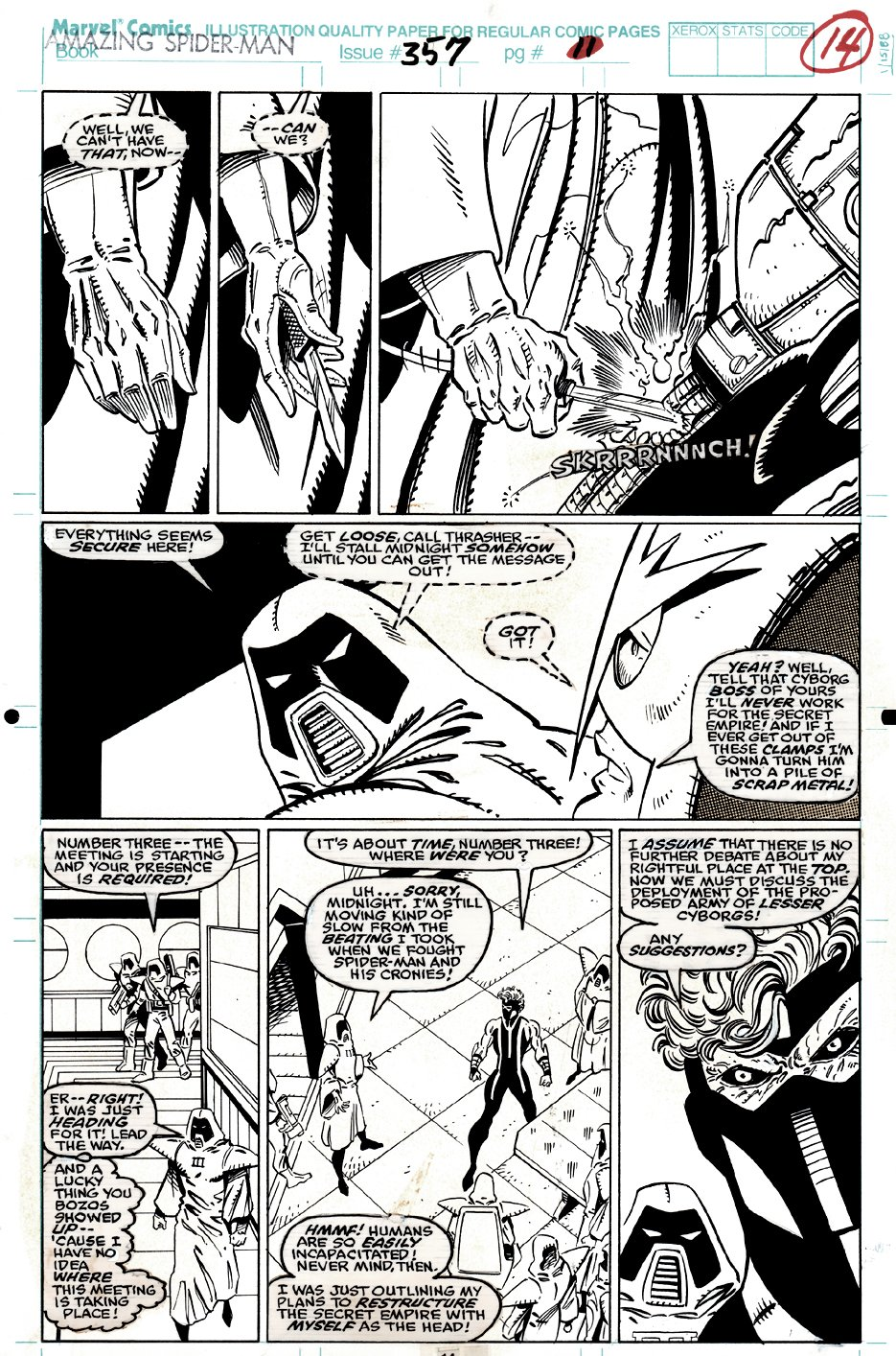 Amazing Spider-Man #357 P 14 (Punisher Getting Ready To Stab Midnight!) 1991