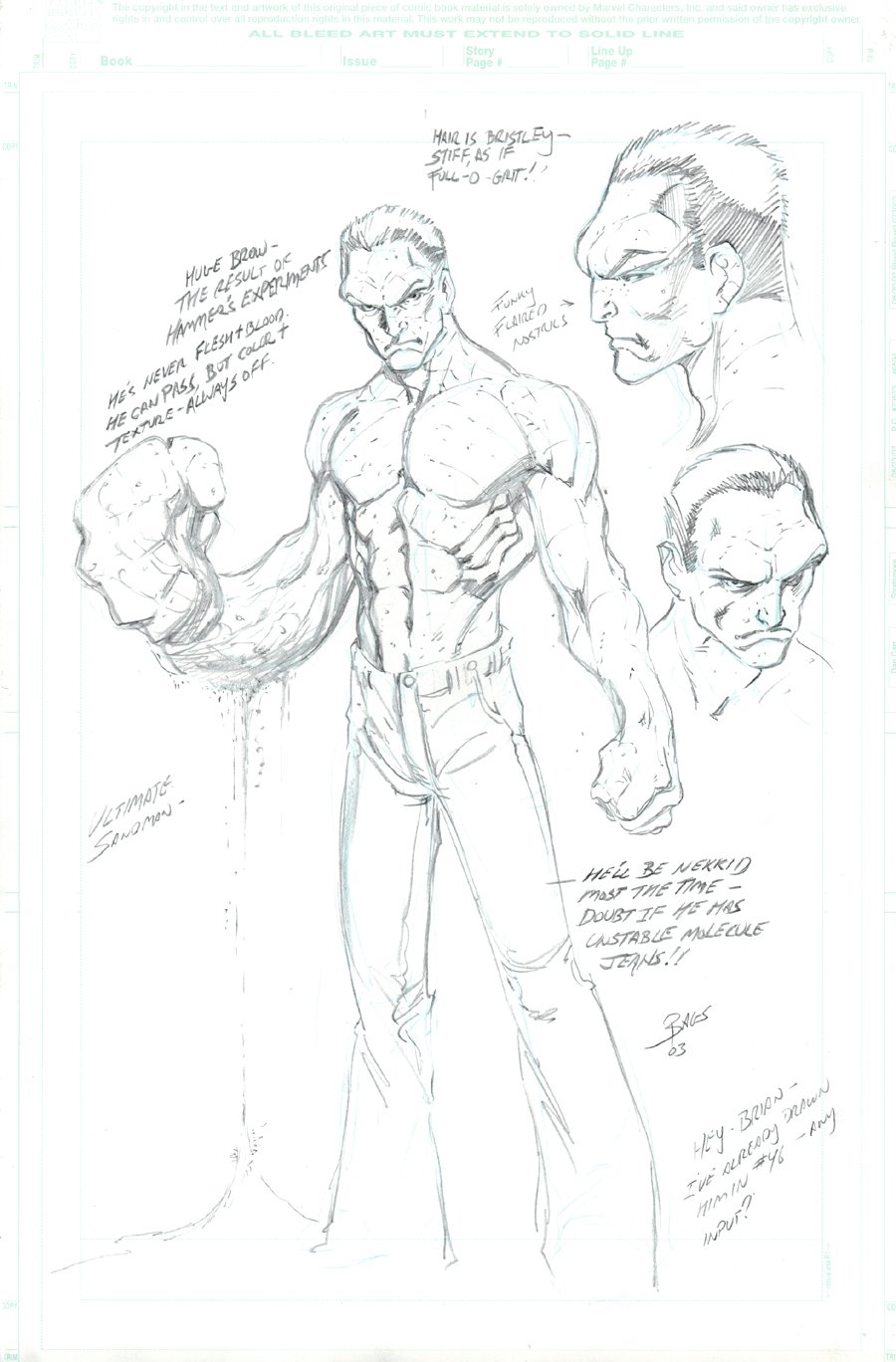 Ultimate Spider-Man SANDMAN Style Guide Pinup (2003)