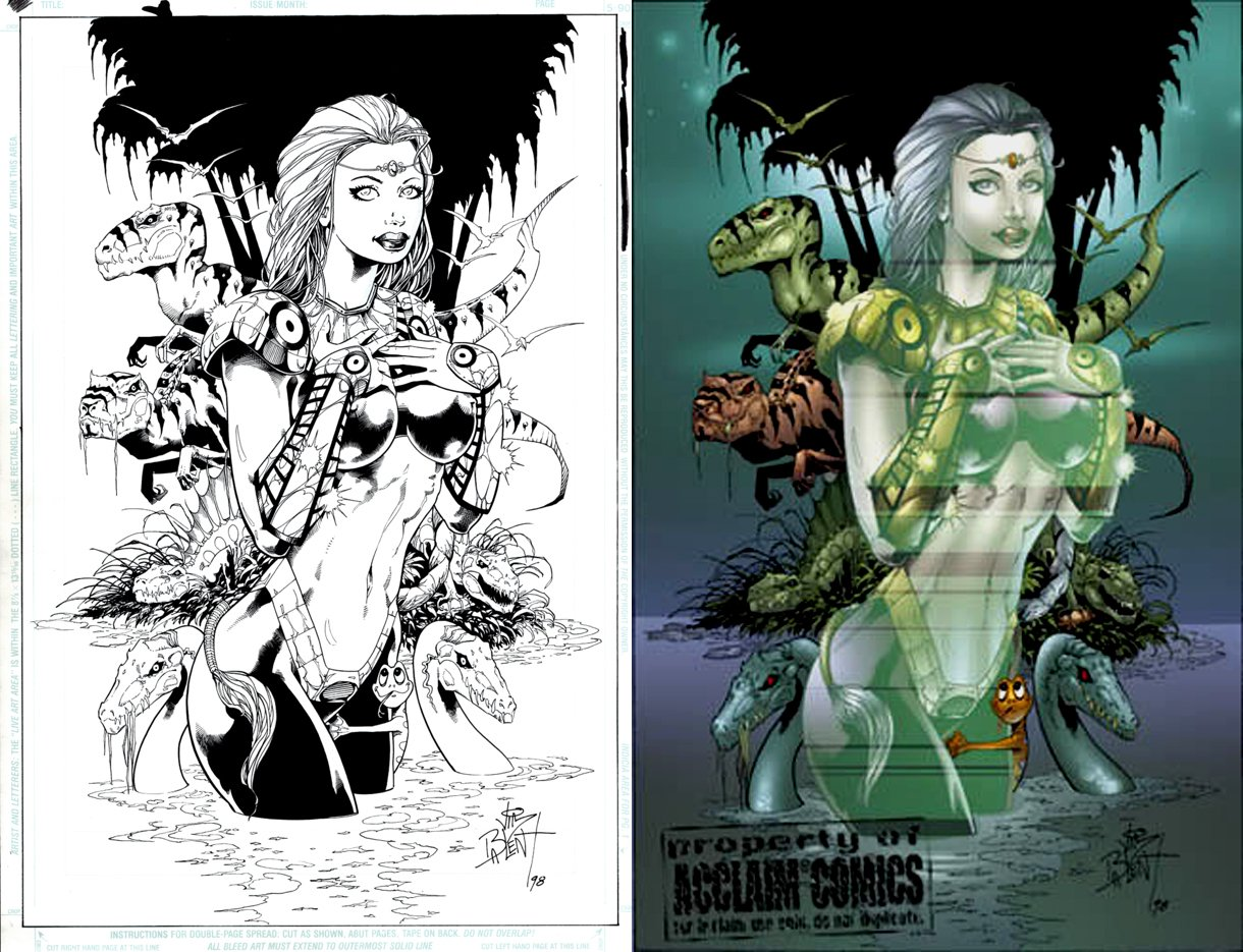 Acclaim Comics Published Babe Pinup (SOLD LIVE ON THE ROMITAMAN ART DROP PODCAST ON 10-9-2021)