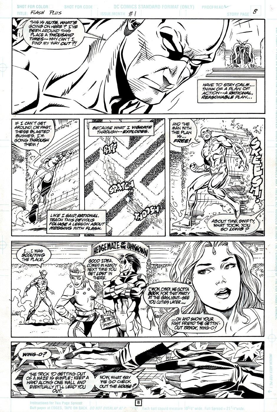 Flash Plus #1 p 8 (FLASH THROUGHOUT RUNNING THROUGH A MAZE!) 1996
