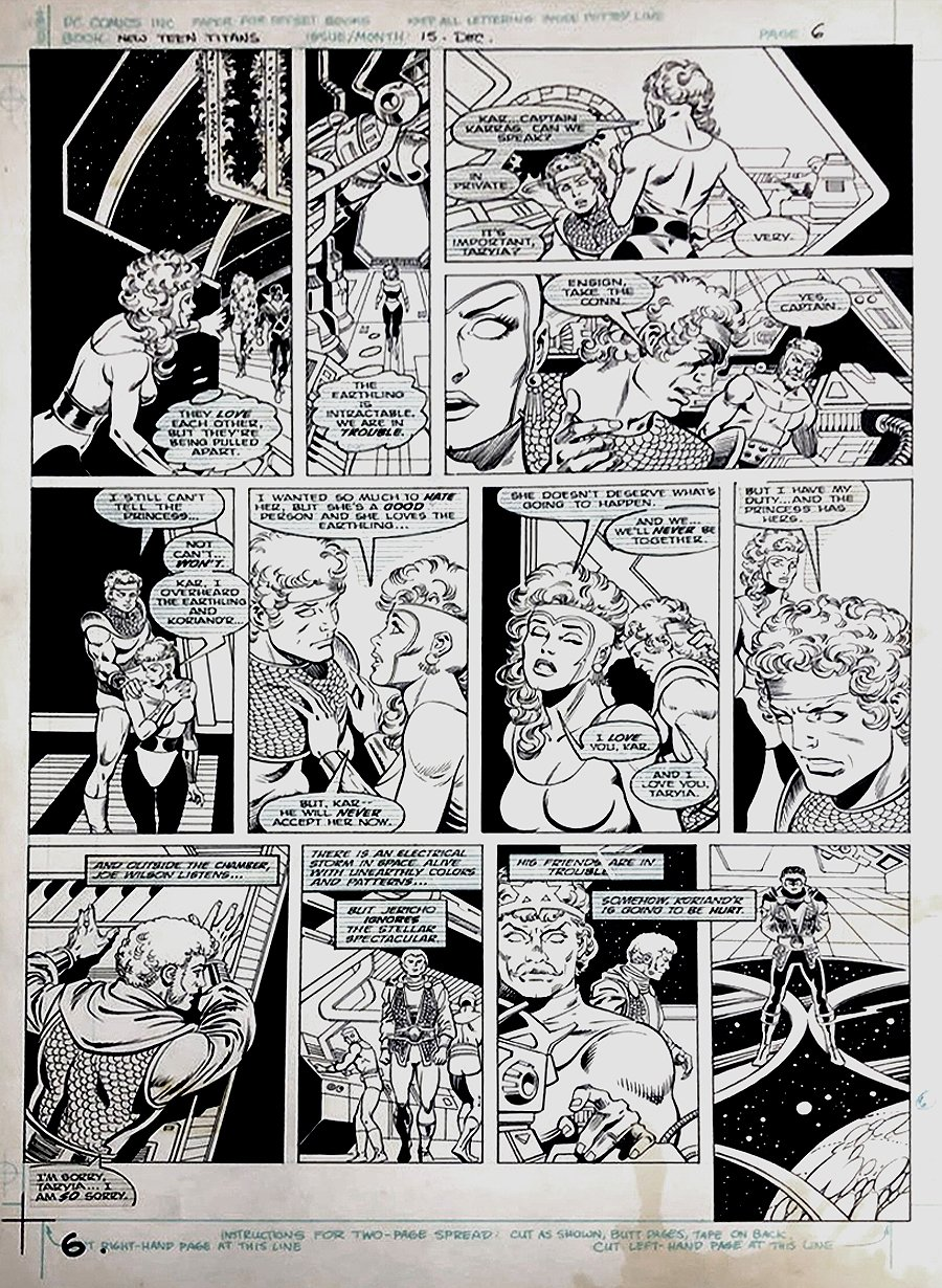 The New Teen Titans #15 p 6 (Jericho, Captain Karras, Taryia!) Large Art - 1985