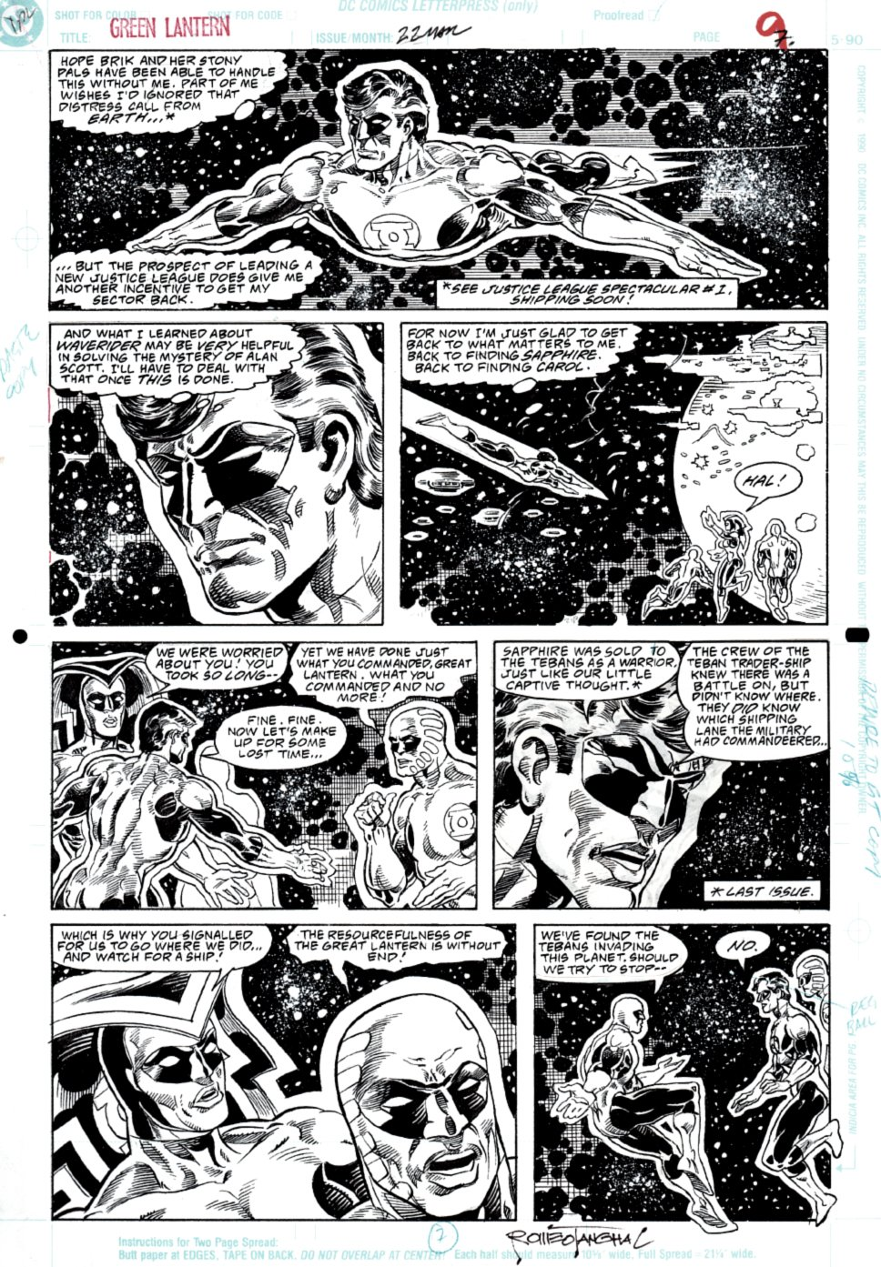 Green Lantern 22 p 7 (SOLD LIVE ON 'DUELING DEALERS OF COMIC ART' EPISODE #21 PODCAST ON 6-9-2021 (RE-WATCH THIS FUNNY ART SELLING SHOW HERE)