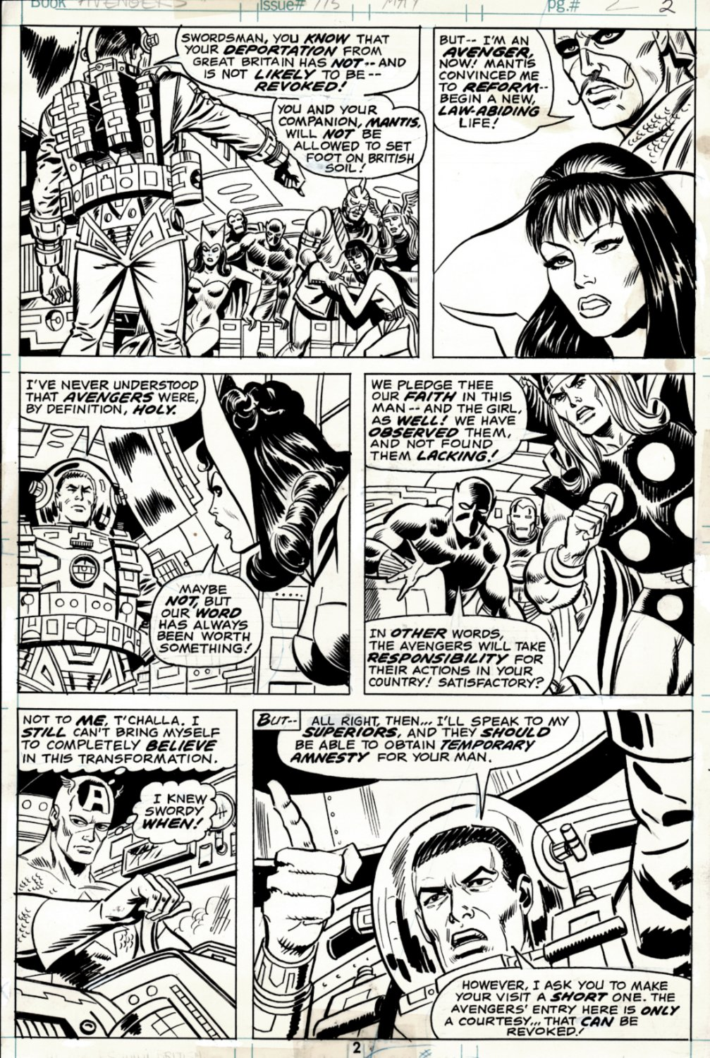 Avengers #115 p 2 (SOLD LIVE ON 'DUELING DEALERS OF COMIC ART' EPISODE #34 PODCAST ON 9-1-2021(RE-WATCH THIS FUNNY ART SELLING SHOW HERE)