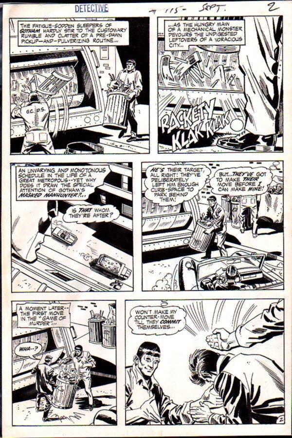 Detective Comics #415 p 2 (Batman Watches A Garbage Man Get Kidnapped!) 1971