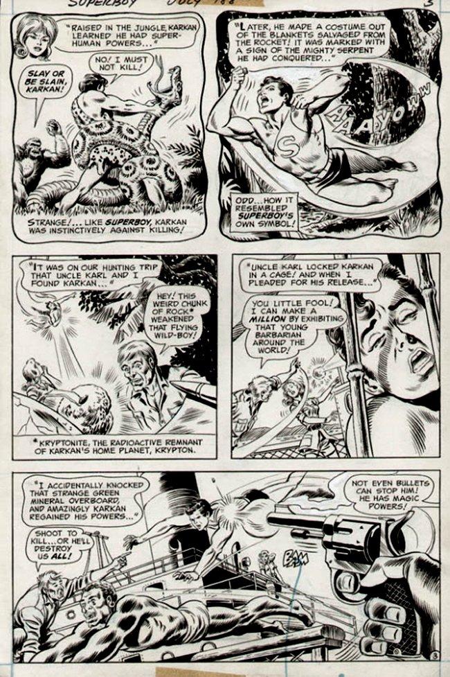 Superboy #188 p 3 (Superboy battles Giant Snake & Bullets! 1972)