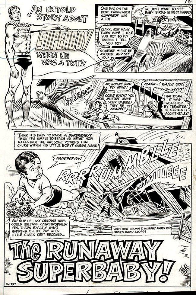 Superboy #189 p 1 SPLASH (SPUERBOY & SUPERBABY!) 1972