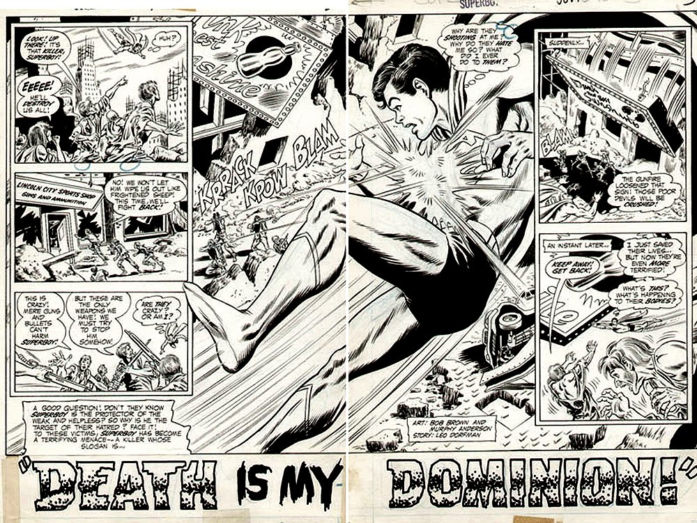 Superboy 179 p 2-3 Double Spread Splash (Superboy Trying To Save Lives?) 1971