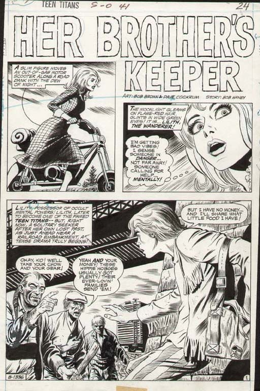 Teen Titans #41 p 1 SPLASH (LILITH THE WANDERER, DAVE COCKRUM INKS!) 1972