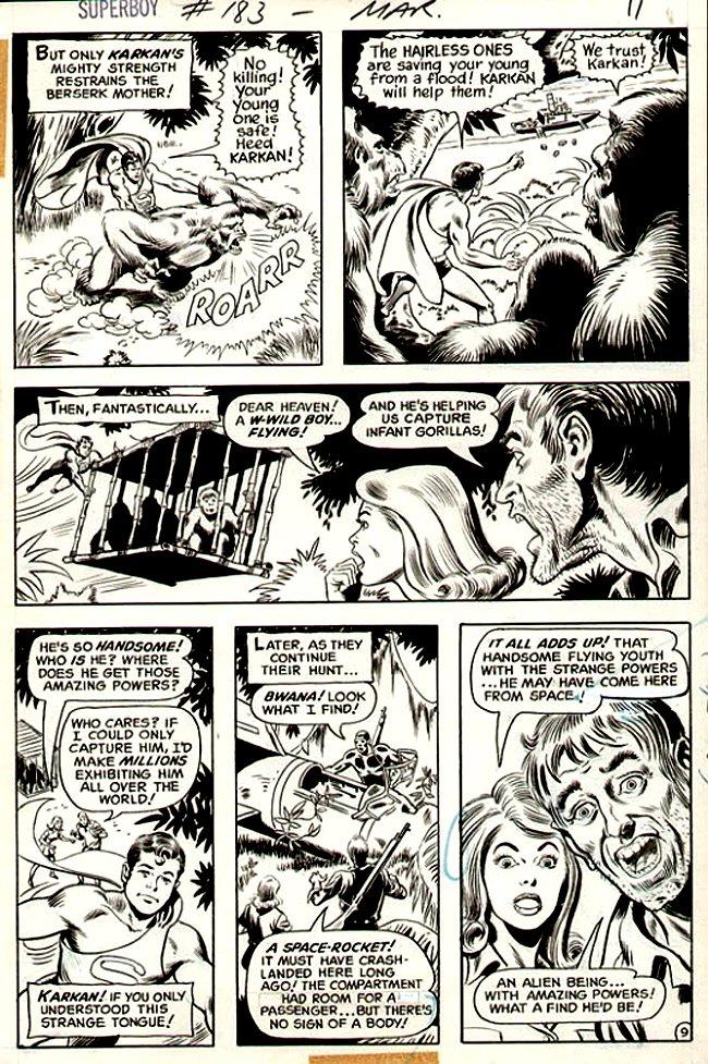 Superboy #183 p 9 (Superboy Battling Gorilla!) 1971