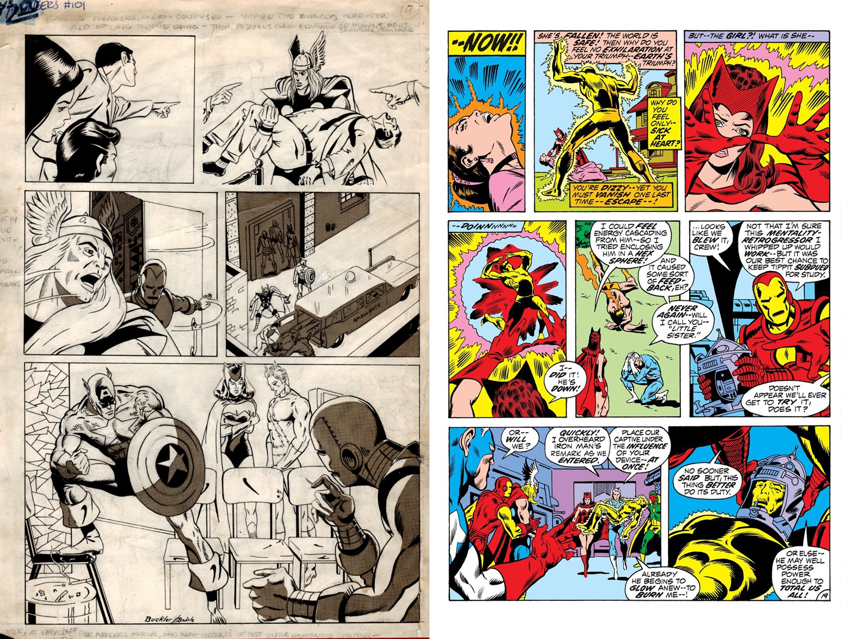 Avengers #101 p19 Unpub Page (SOLD LIVE ON 'DUELING DEALERS OF COMIC ART' EPISODE #9 PODCAST ON 3-24-2021 (RE-WATCH OUR LIVE ART SELLING PODCAST HERE!)