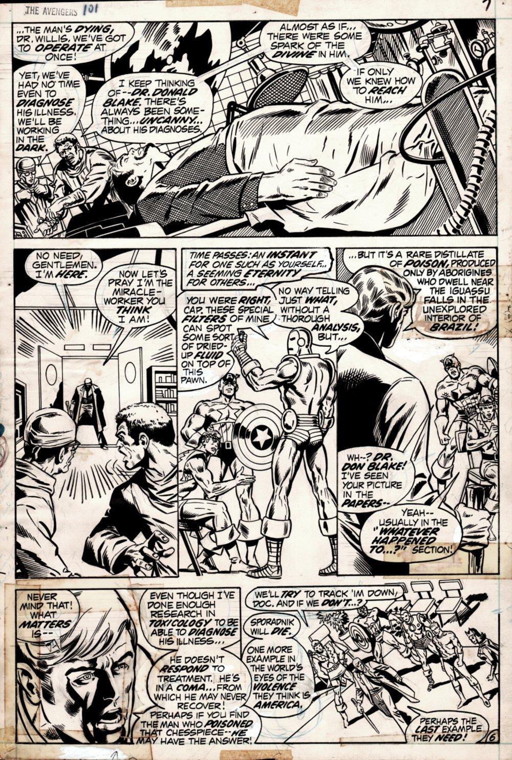 Avengers #101 p 6 (VERY FIRST RICH BUCKLER AVENGERS ART! ENTIRE TEAM!) 1972