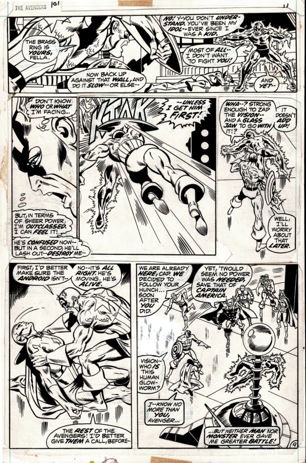 Avengers #101 p 9 (VERY FIRST RICH BUCKLER AVENGERS ART! CAP BATTLES TO SAVE THE VISIONS LIFE!) 1972