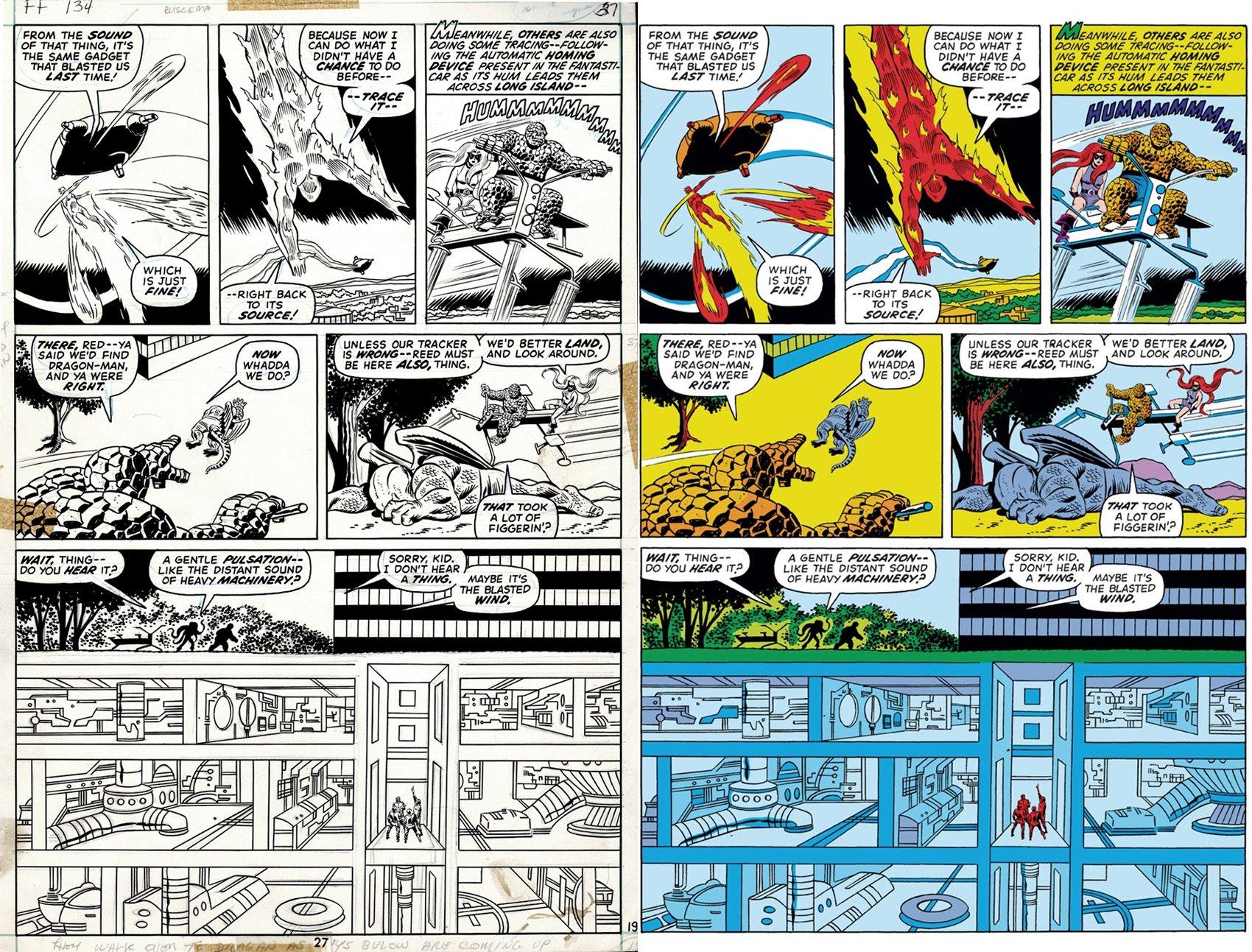 Fantastic Four #134 p 19 (The Thing, Medusa, Human Torch, Dragon Man,  !) 1972