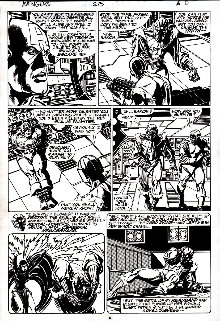 Avengers #275 p 6 (CAPTAIN AMERICA / BARON ZEMO / FIXER!) 1986