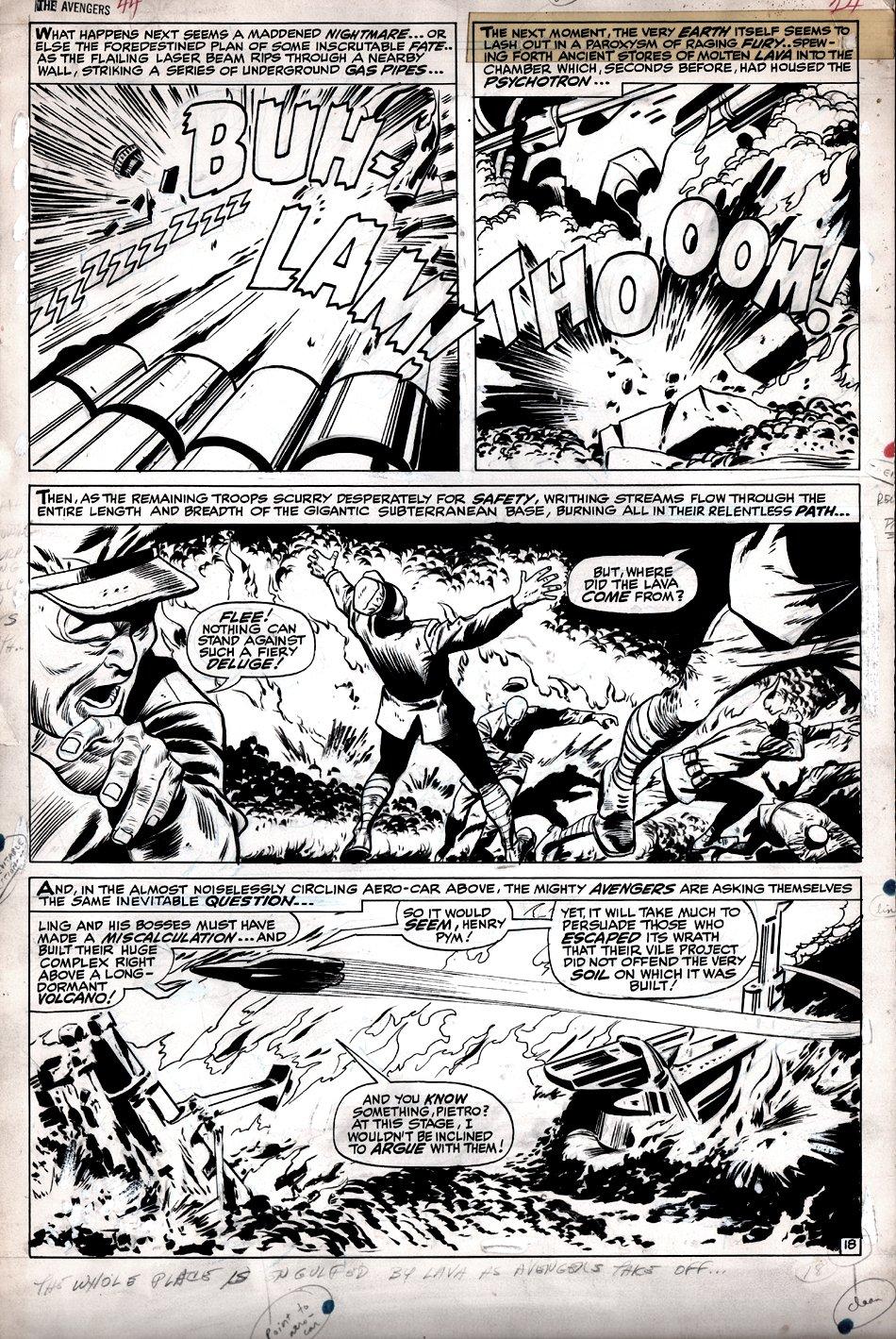 Avengers #44 p 18 (LARGE ART DESTRUCTION PAGE!) 1967