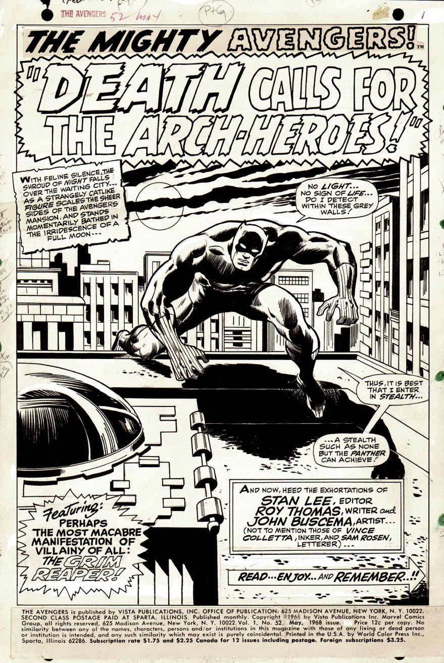 Avengers #52 p 1 SPLASH (BLACK PANTHER JOINS THE AVENGERS!) 1968