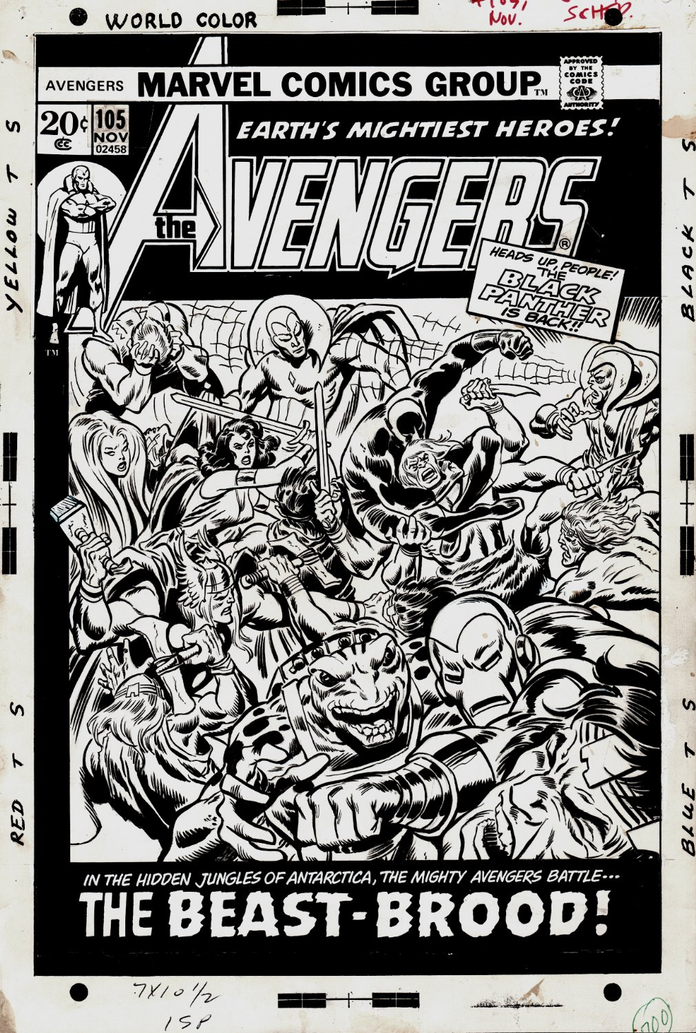 Avengers #105 Cover (Black Panther Rejoins Avengers! With Hawkeye, Iron Man, Thor, Vision, Sif, ALL Battling In the Savage Land!) 1972