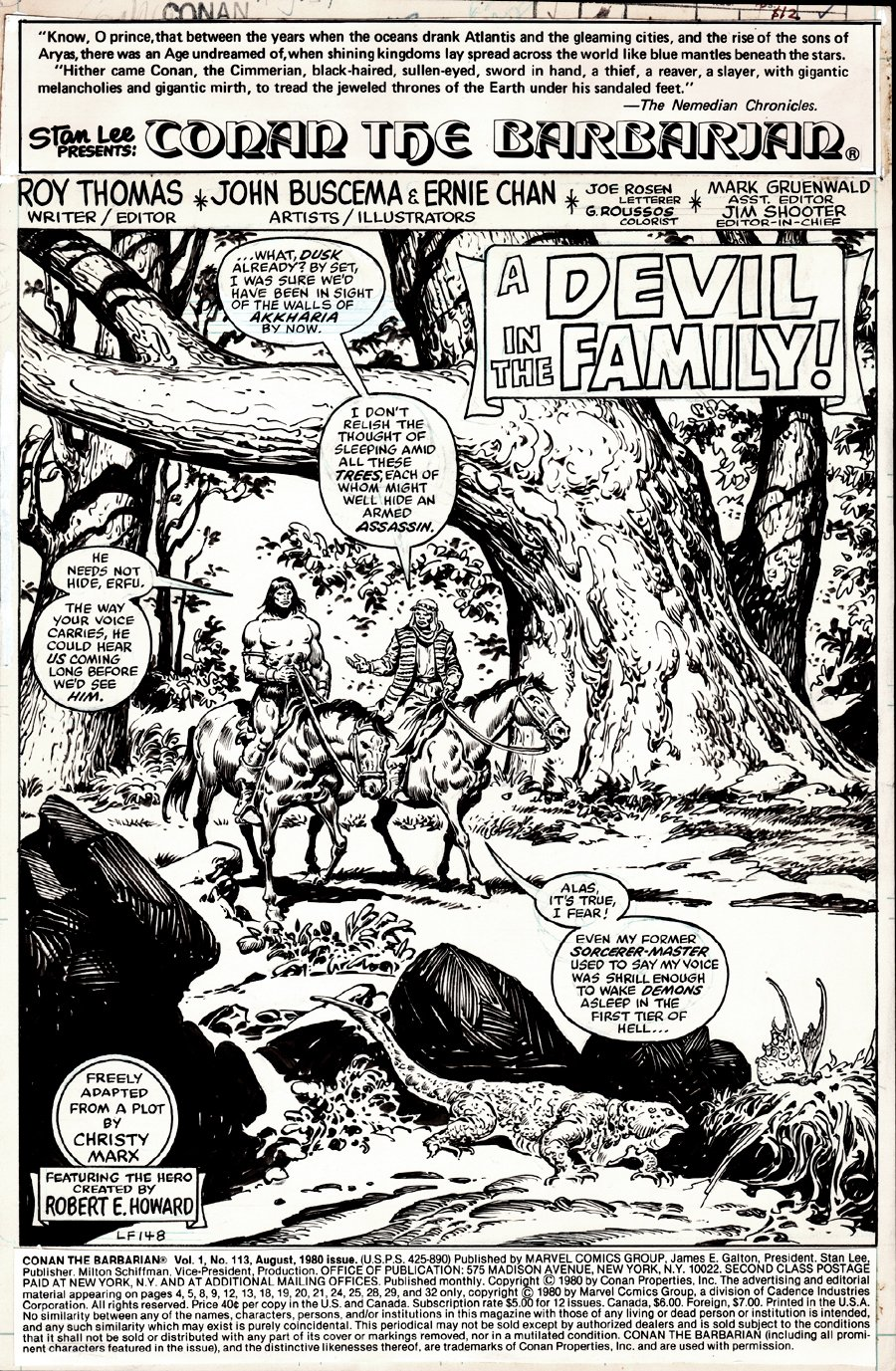 Conan the Barbarian #113 p 1 (CONAN SPLASH!) 1980