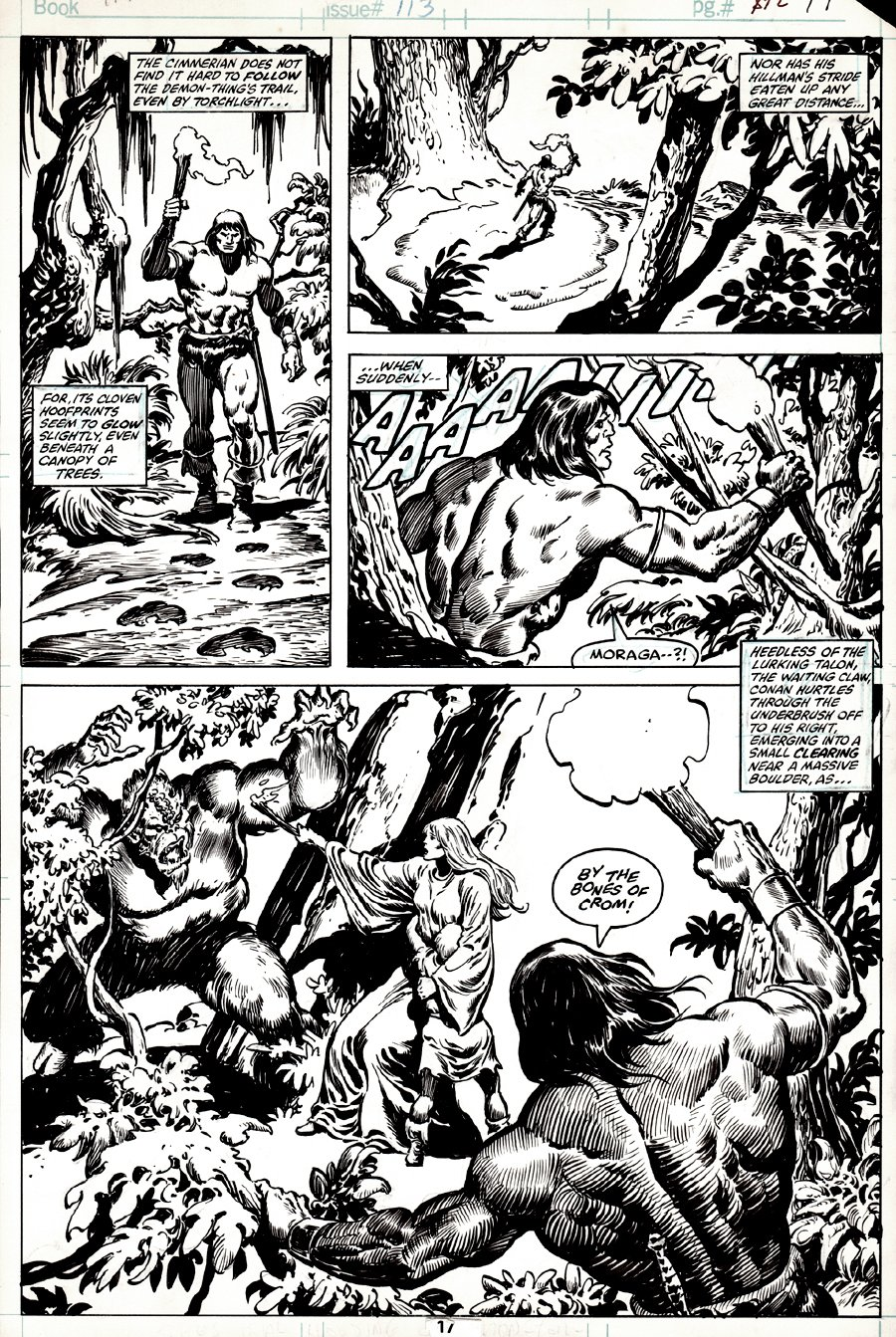 Conan the Barbarian #113 p 17 (AWESOME CONAN AND DEMON SEMI-SPLASH!) 1980