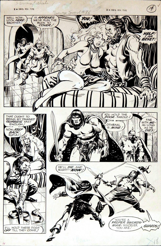 Savage Sword of Conan #36 p 18 (GREAT ALCALA INKED CONAN BATTLE PAGE!) 1978