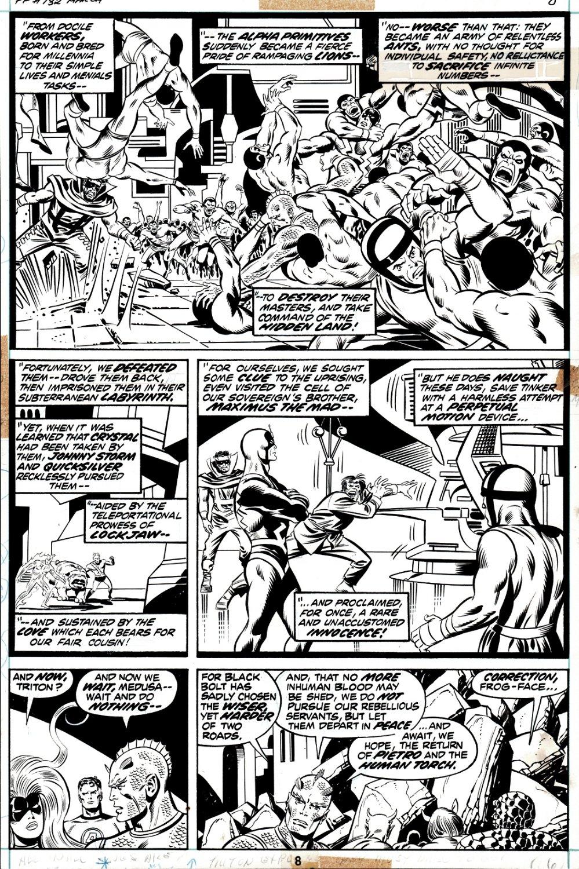 Fantastic Four #132 p 8 (Mr. Fantastic; Medusa; Human Torch; The Thing; Black Bolt; Quicksilver; Gorgon; Karnak; Triton; Lockjaw; Maximus!) 1972