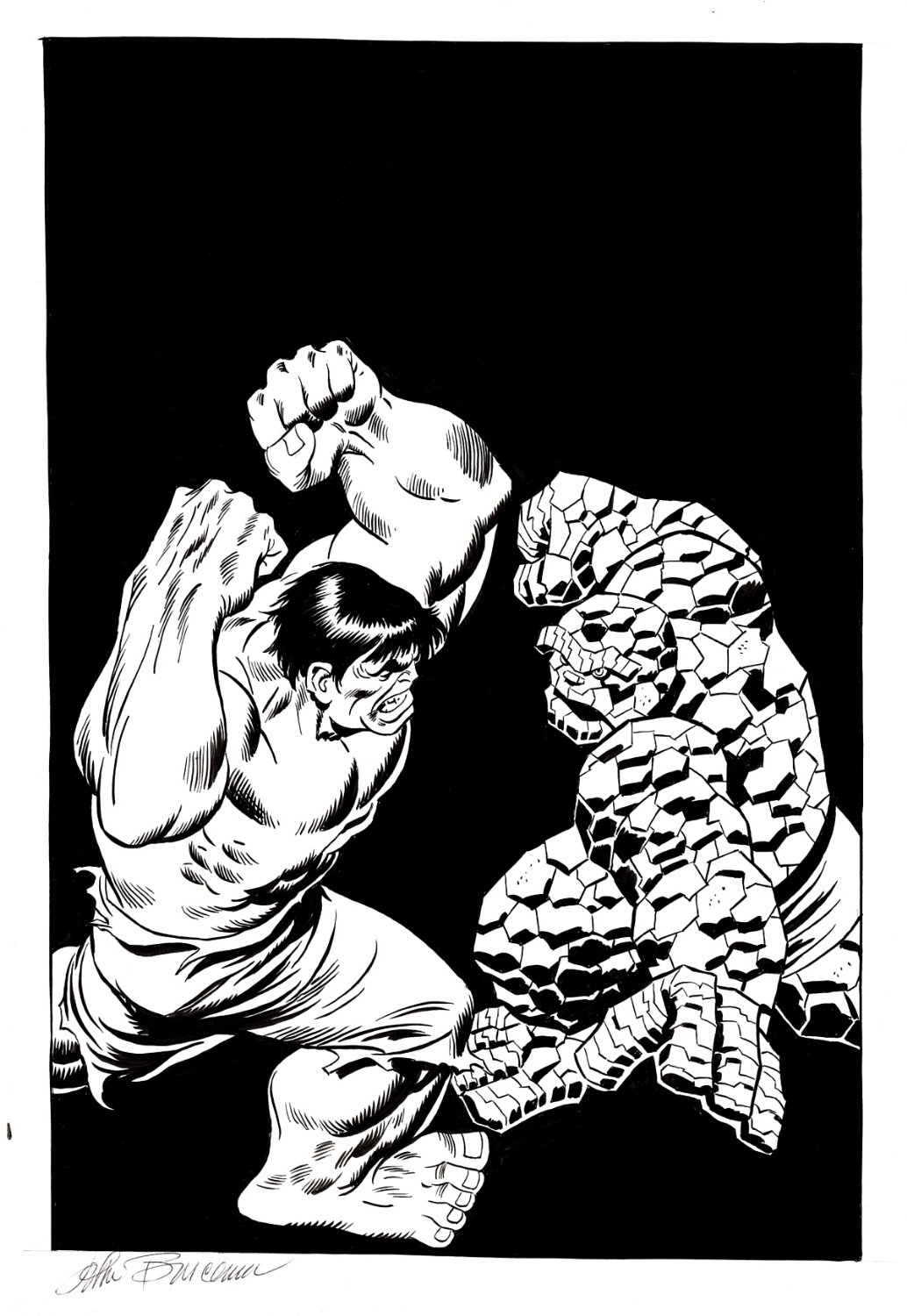 Fantastic Four #112 Cover Recreation Drawn 6 Years Before JB Started Doing His Multiple Recreations (1 OF THE MOST REMEMBERED JOHN BUSCEMA COVERS!) 1992