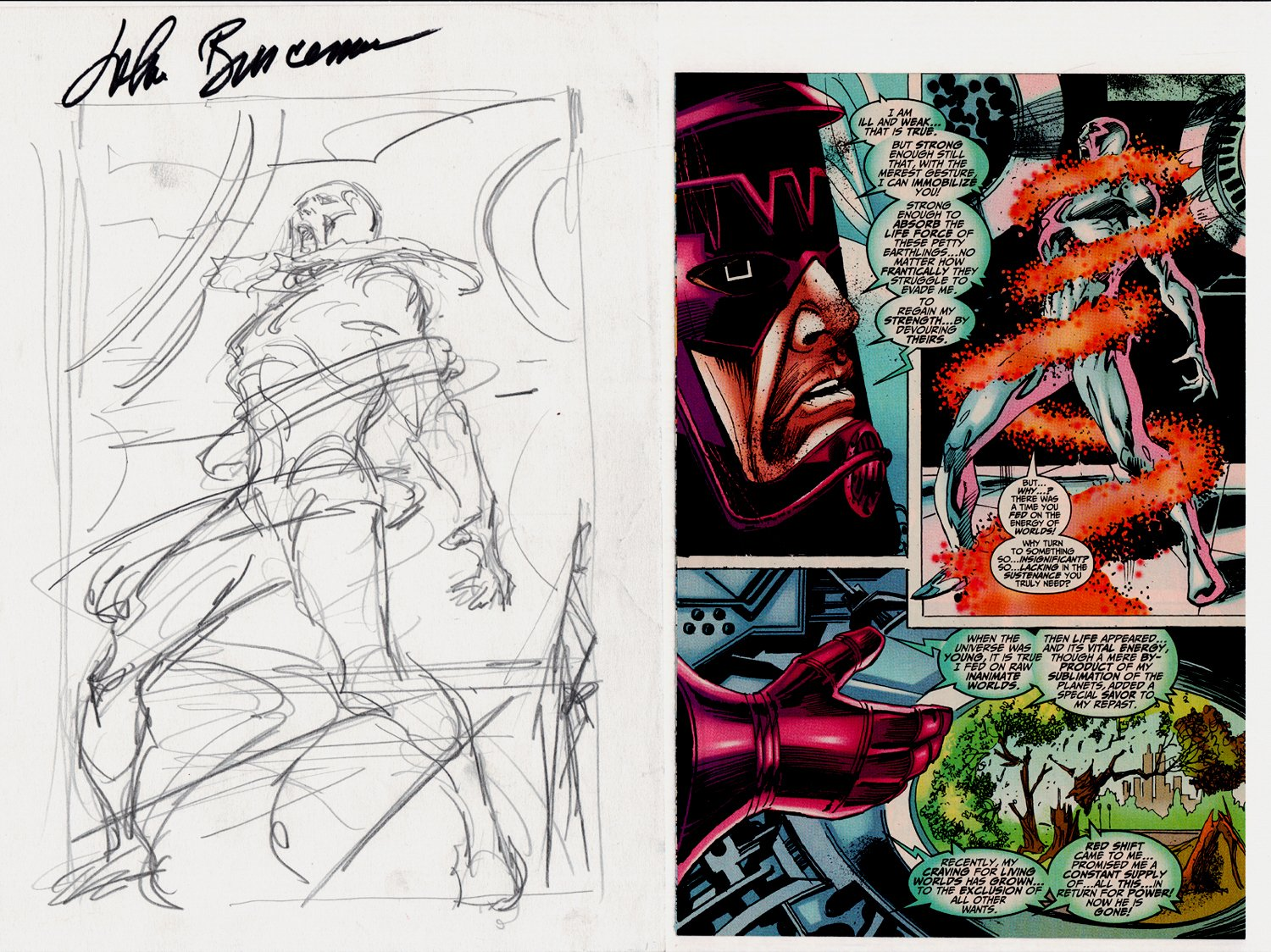Galactus the Devourer #3 p 17 (Silver Surfer Prelim To Published Page!) 1999
