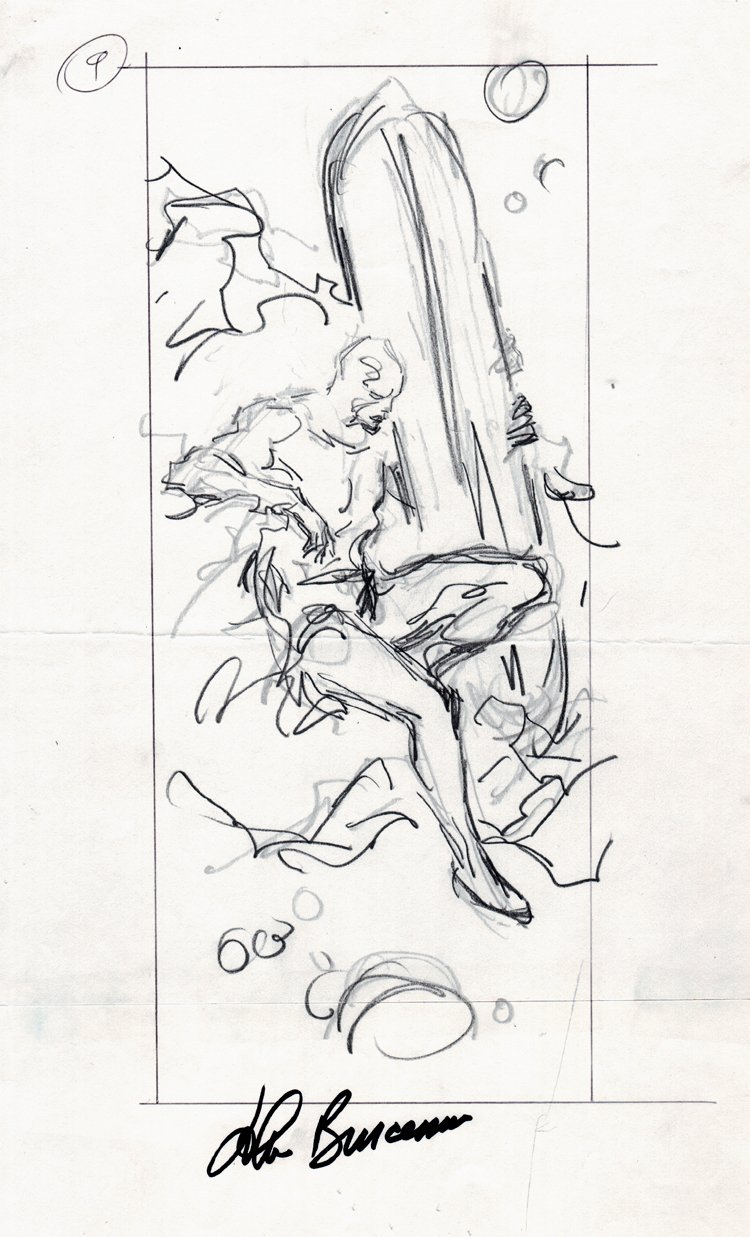 Essential Silver Surfer #1 Back Cover Prelim (Surfer Sitting On An Asteroid In Outer Space) 1997