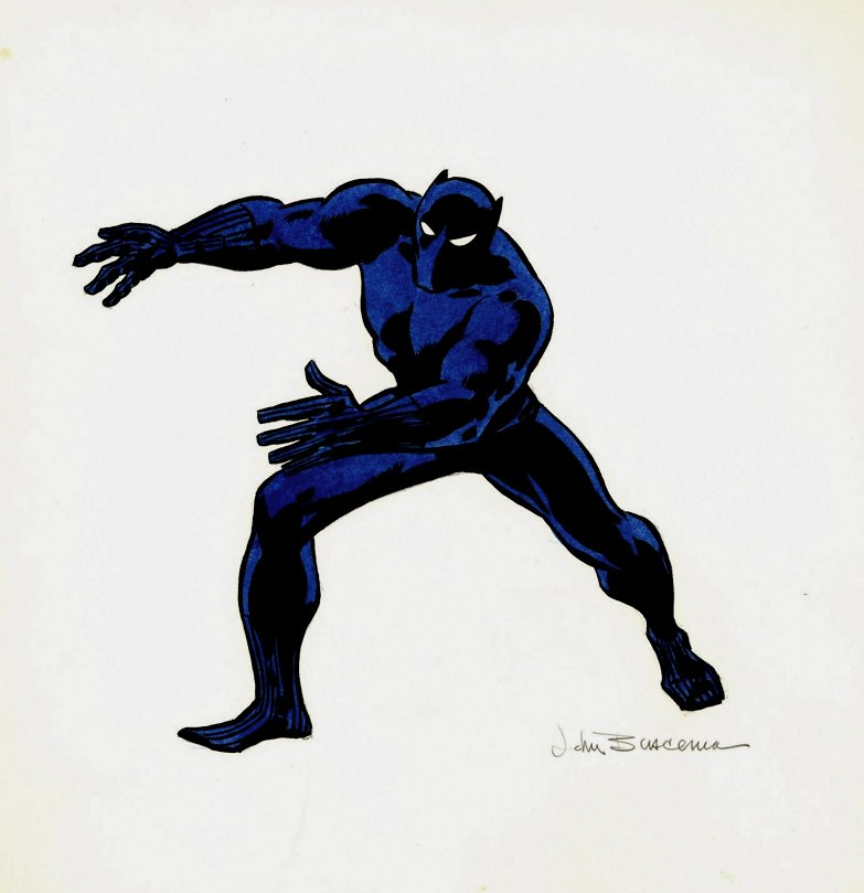 1970 Published Black Panther Penciled, Inked, Hand Colored NFL Pinup (1970)