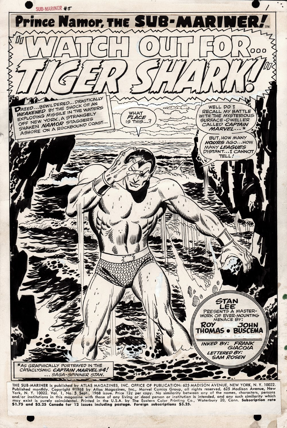 Sub-Mariner #5 p 1 SPLASH (1968)
