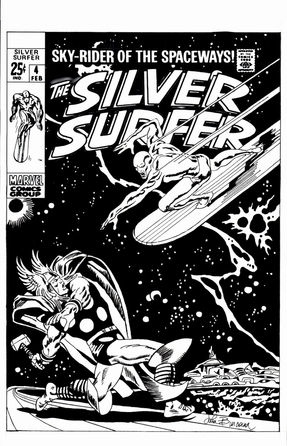 Silver Surfer #4 Cover Recreation (ARGUABLY THE MOST REMEMBERED JOHN BUSCEMA COVER!) 1990s
