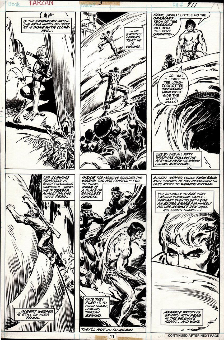 Tarzan #3 p 11 (BEAUTIFUL DRAWINGS ON BACK) 1977