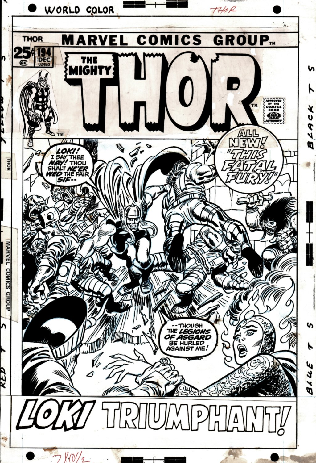 Thor #194 Cover (THOR BATTLES 6 CREATURES & LOKI TO SAVE SIF!) 1971