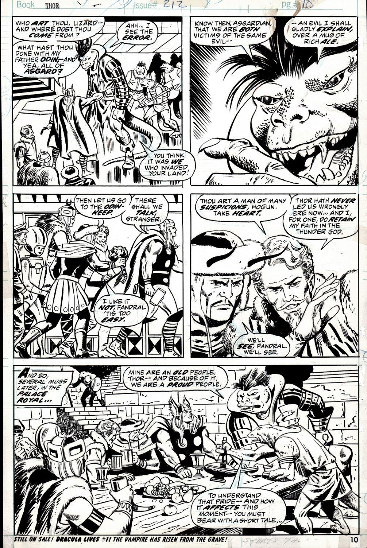 Thor #212 p 10 (Thor, Sssthgar, Warriors Three: Hogun, Fandral, Volstagg!) 1973