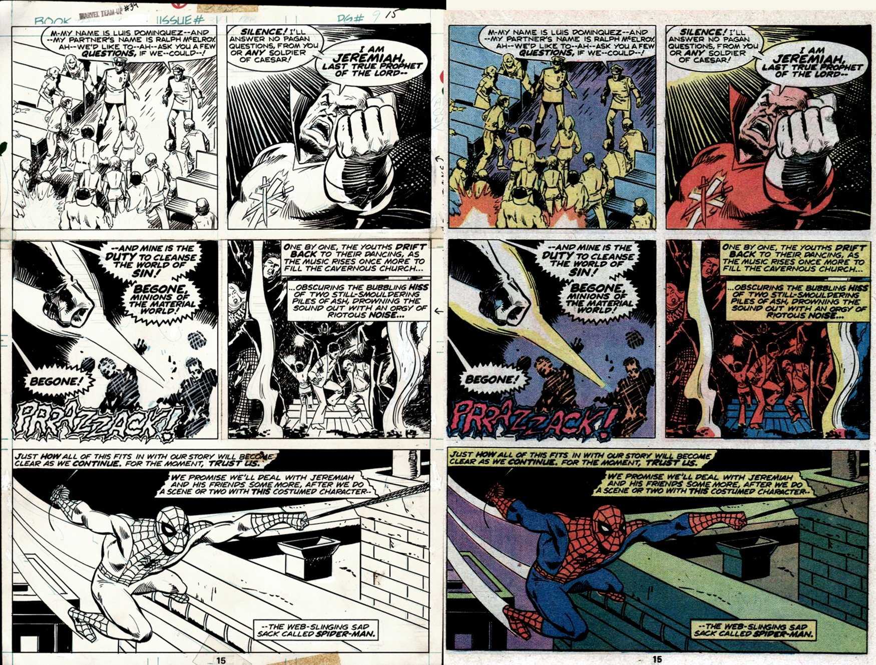 Marvel Team-Up #34 p 15 (SWINGING SPIDEY SPREAD & POLICE OFFICER LUIS DOMINGUEZ GETS KILLED ON THIS VERY PAGE!) 1975