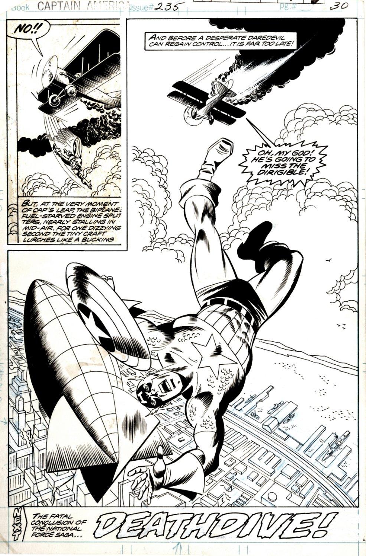 Captain America #235 Splash (HUGE CAP IMAGE... LEAPING TO HIS DEATH???) 1979
