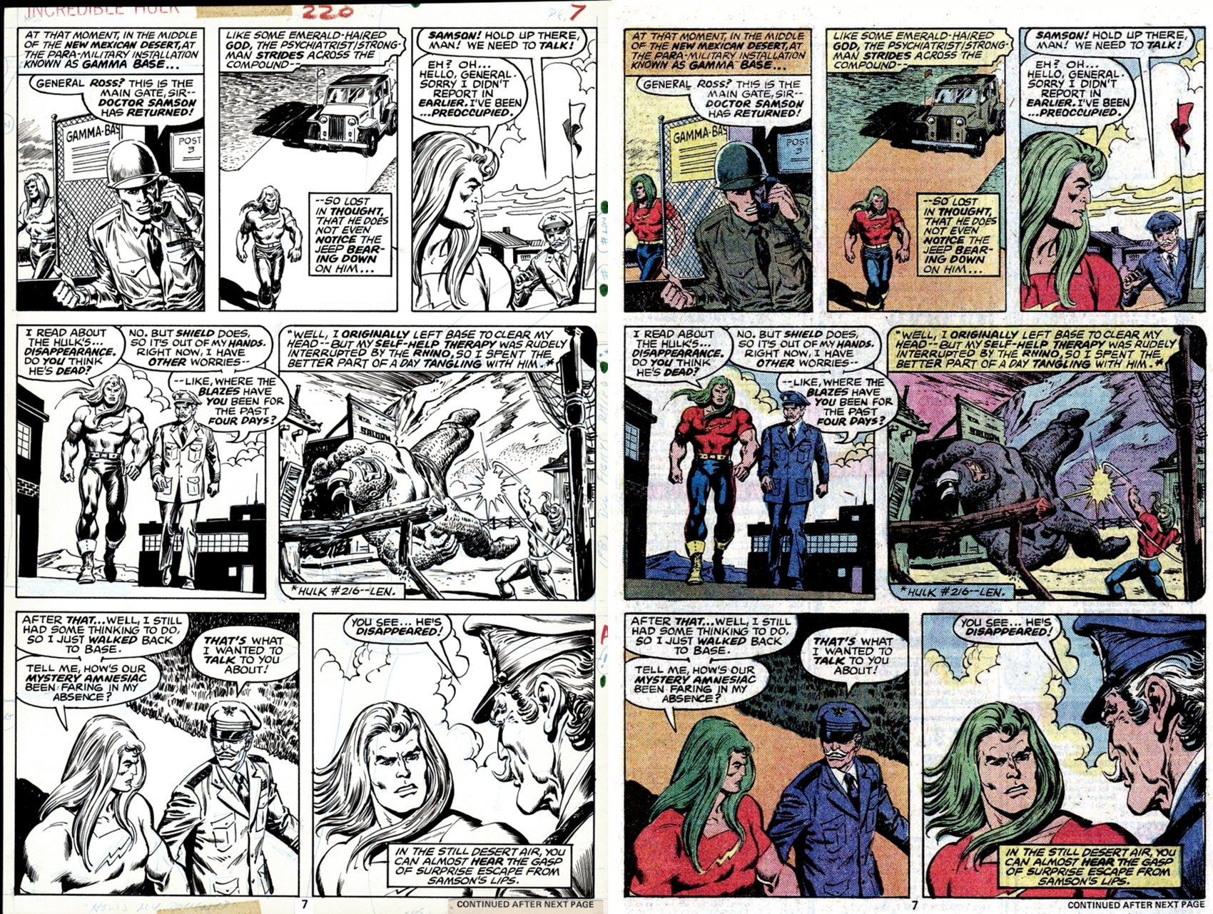 Incredible Hulk #220 p 7 (SOLD LIVE ON 'DUELING DEALERS OF COMIC ART' EPISODE #25 PODCAST ON 7-14-2021 (RE-WATCH THIS FUNNY ART SELLING SHOW HERE)