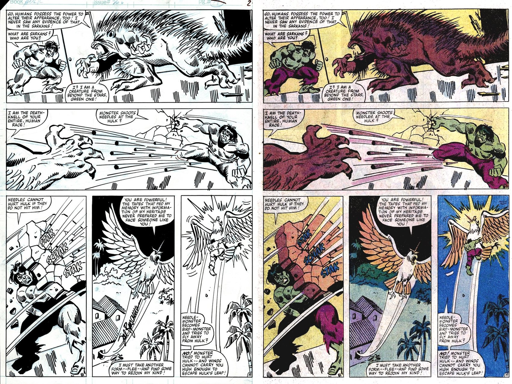 Incredible Hulk #262 p 19 (HULK'S VERY FIRST BATTLE WITH 'ROM' DIRE WRAITH MONSTER: KATTAN-TU!) 1981