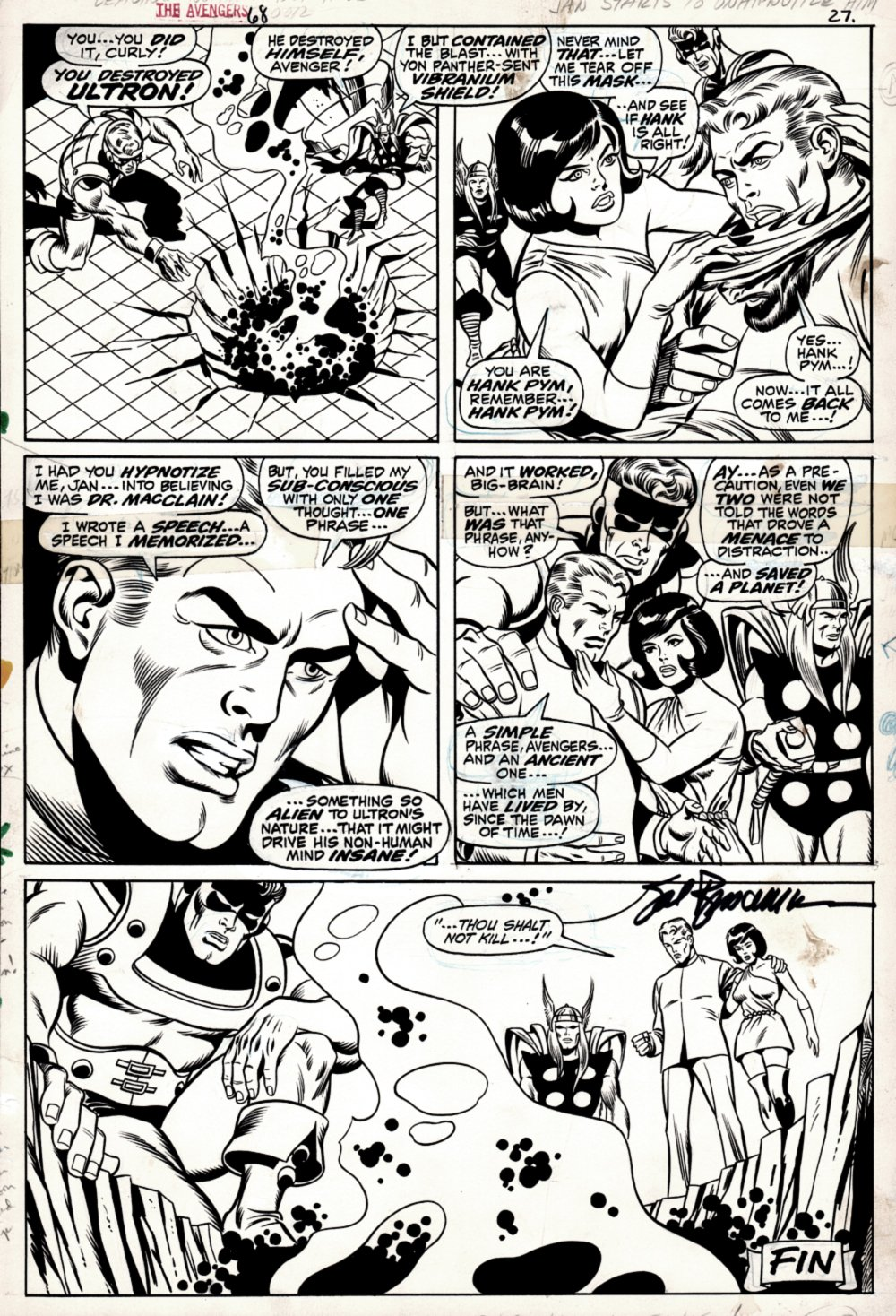 Avengers #68 Last Page (THE DEATH OF ULTRON! Goliath, Thor, Wasp, Henry Pym!) 1969