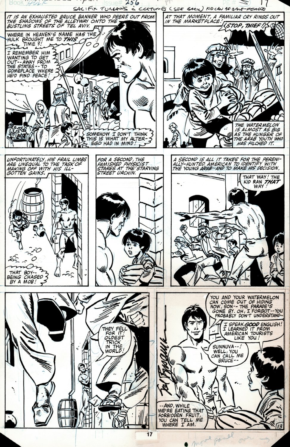 Incredible Hulk #256 p 13 (BRUCE BANNER MEETS YOUNG BOY WHO GETS BLOWN UP!) 1980