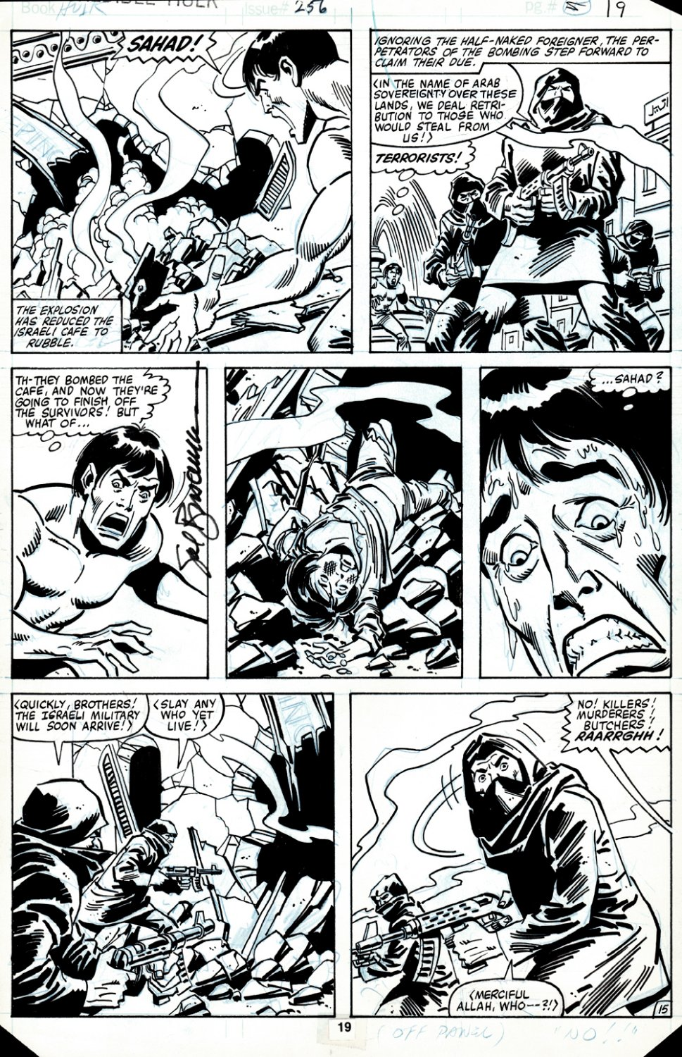 Incredible Hulk #256 p 15 (BRUCE BANNER FINDS THE DEAD ISRAELI YOUNG BOY 'SAHAS' WHO JUST GOT BLOWN UP & TRANSFORMS!) 1980